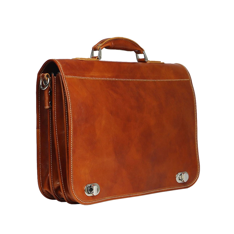 LUIGI: cartella/borsa ufficio uomo, in cuoio, colore: MIELE, Made in Italy.