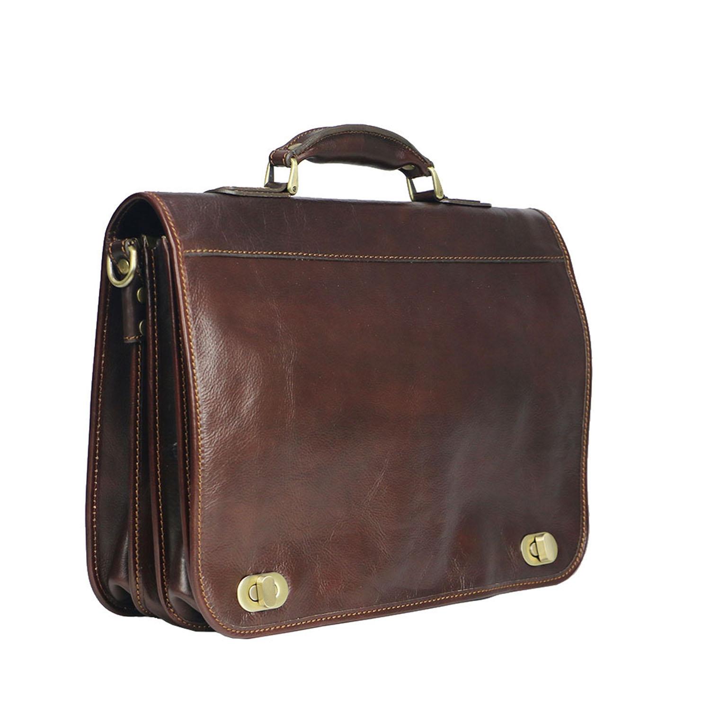 LUIGI: cartella/borsa ufficio uomo, in cuoio, colore: TESTA DI MORO, Made in Italy.