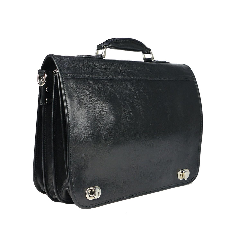 LUIGI: cartella/borsa ufficio uomo, in cuoio, colore: NERO, Made in Italy