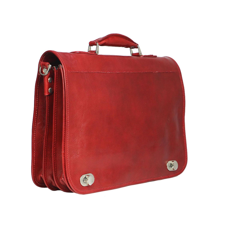 LUIGI: cartella/borsa ufficio uomo, in cuoio, colore: ROSSO, Made in Italy.
