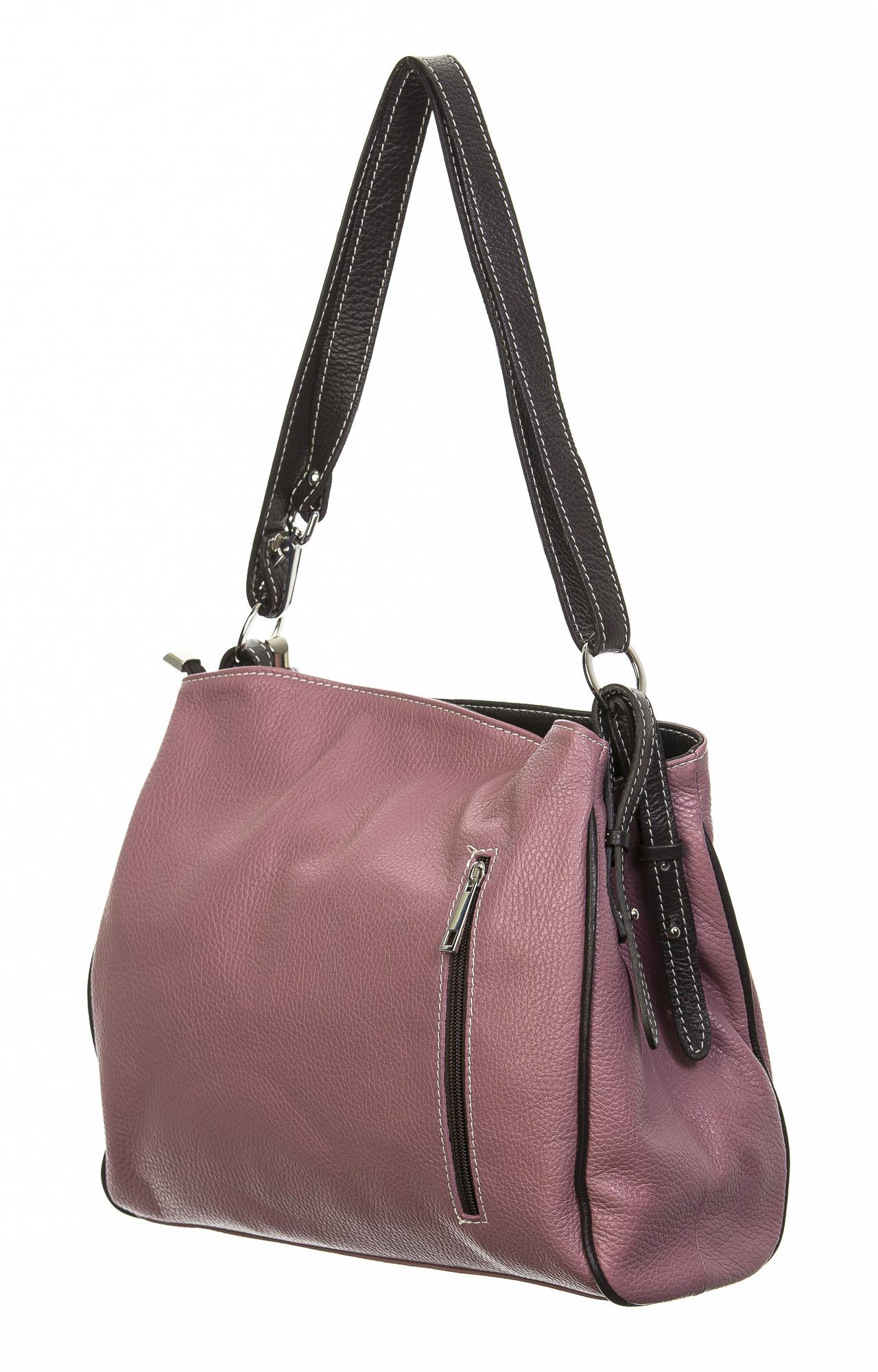 Borsa donna in vera pelle, DELIA REI, mod ANGELINA colore rosa, Made in Italy.