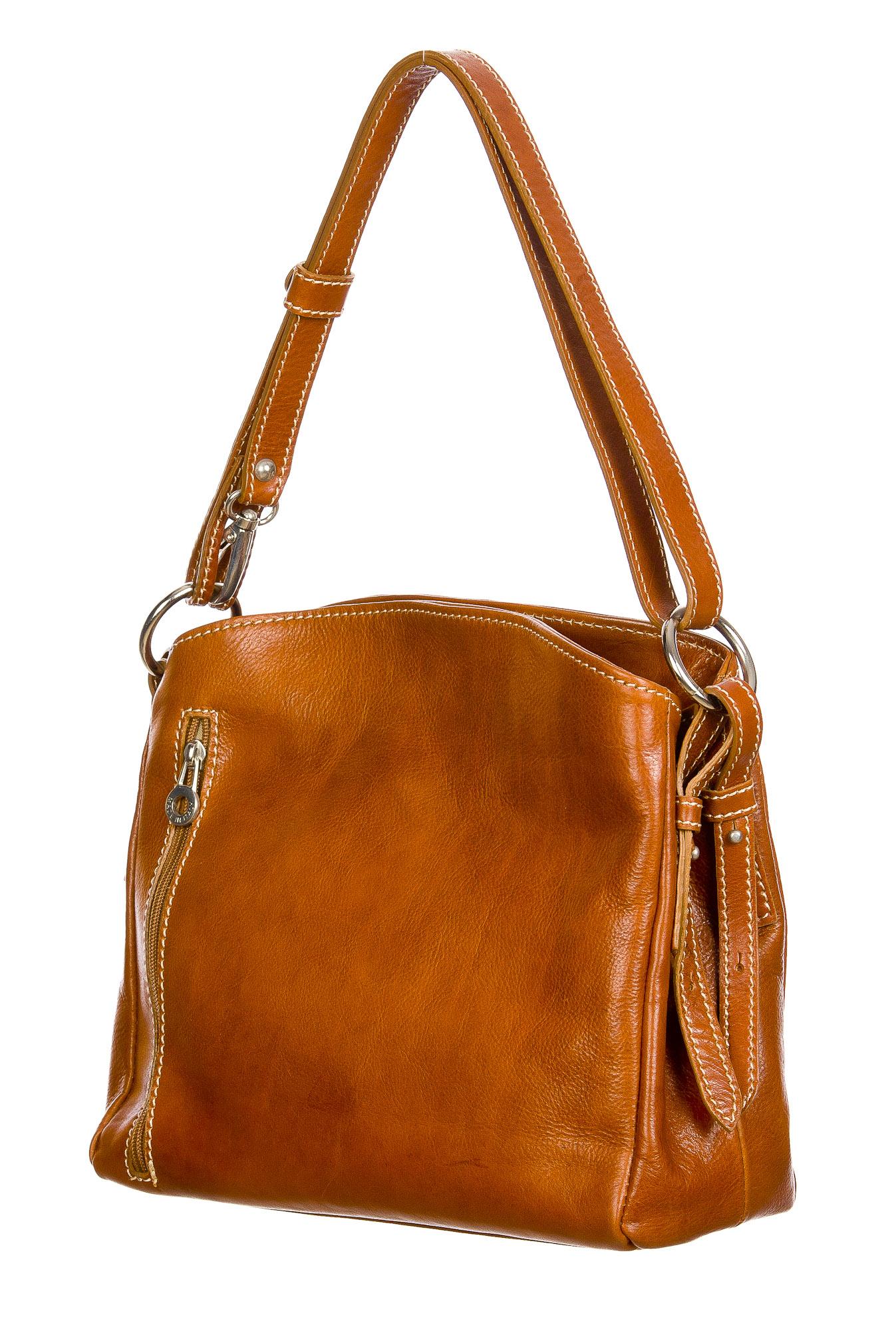 ORNELLA : borsa donna a spalla in cuoio, colore : MIELE, Made in Italy