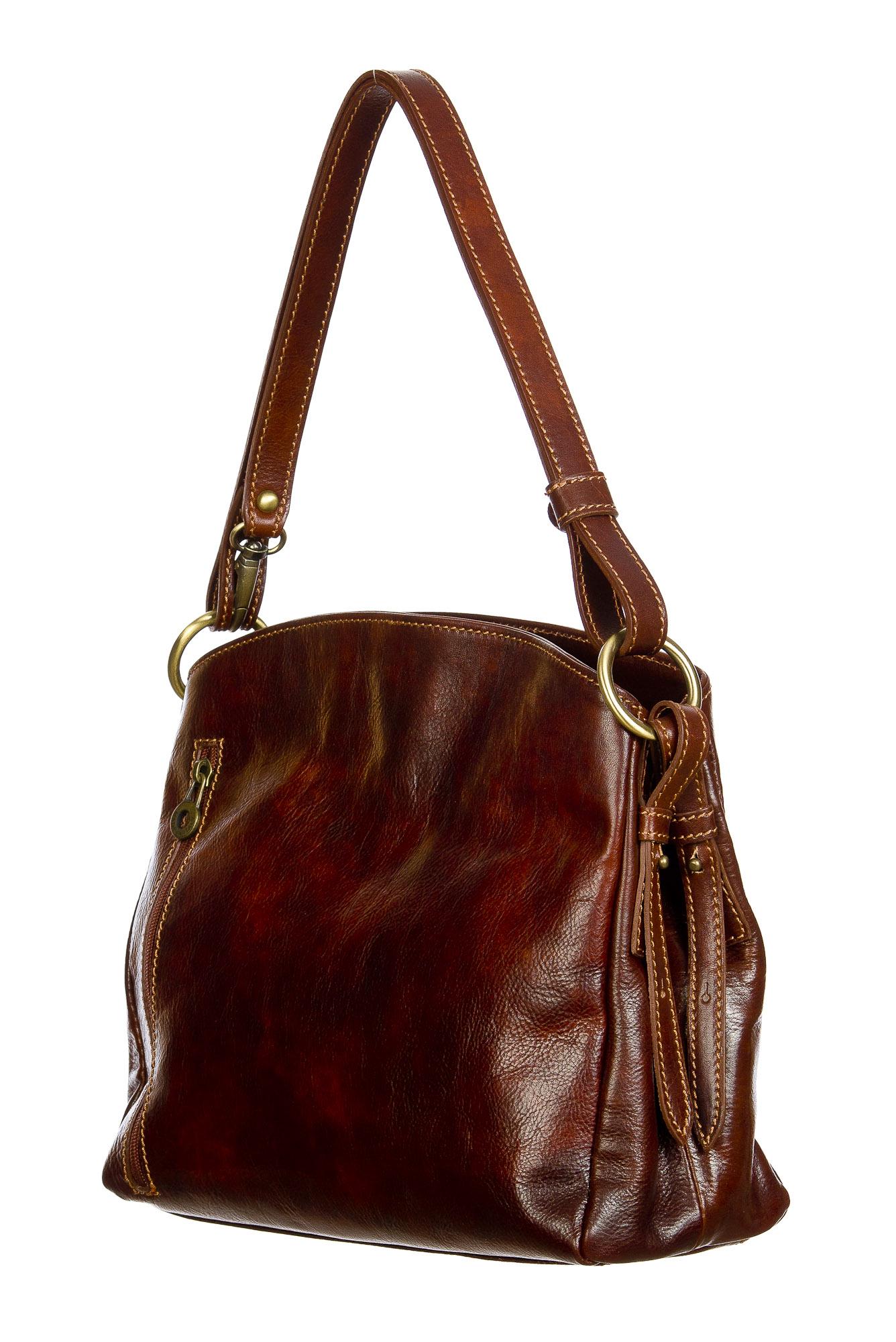 ORNELLA : borsa donna a spalla in cuoio, colore : MARRONE, Made in Italy