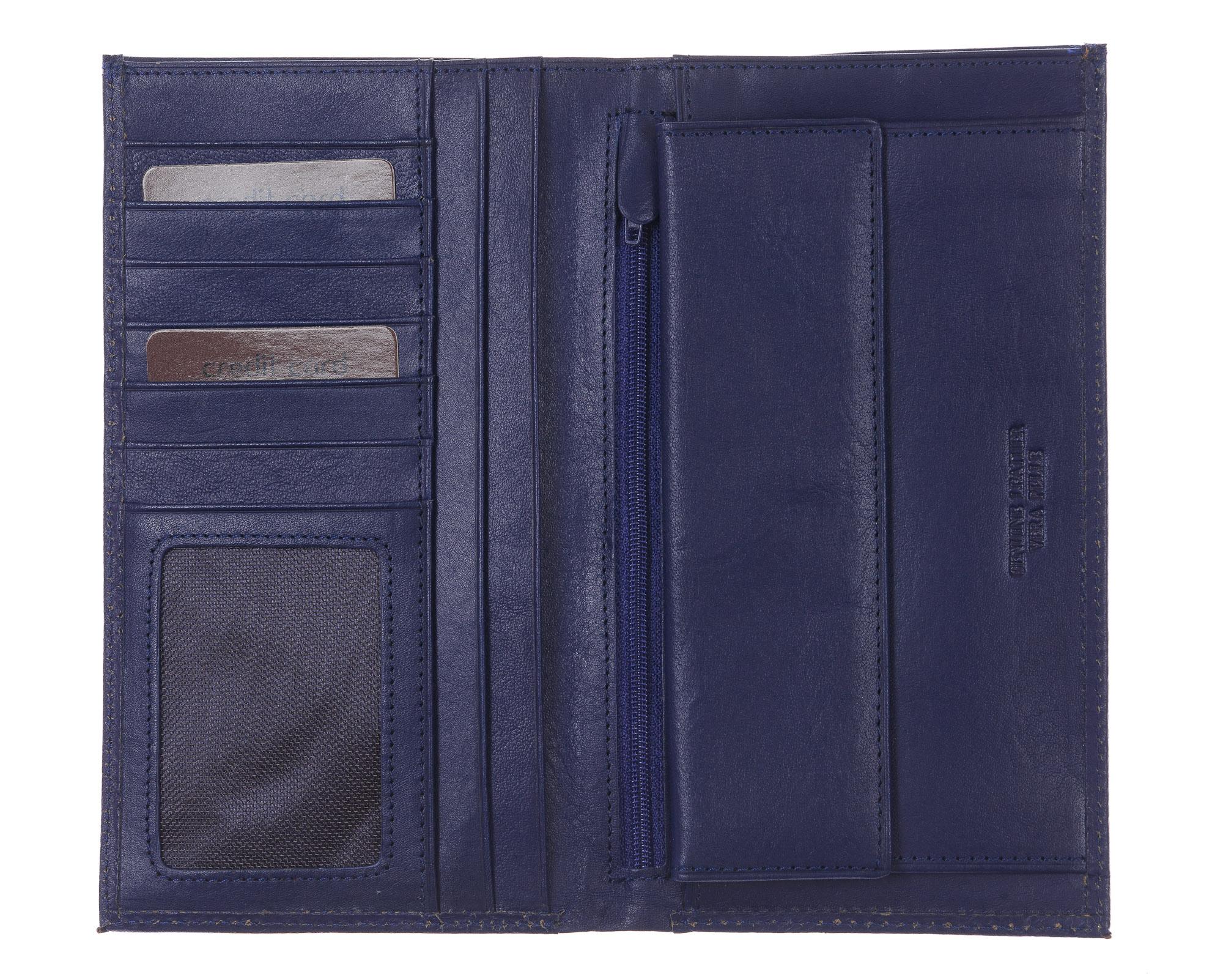 CONGO: maxi portafoglio uomo in cuoio, colore: BLU, Made in Italy