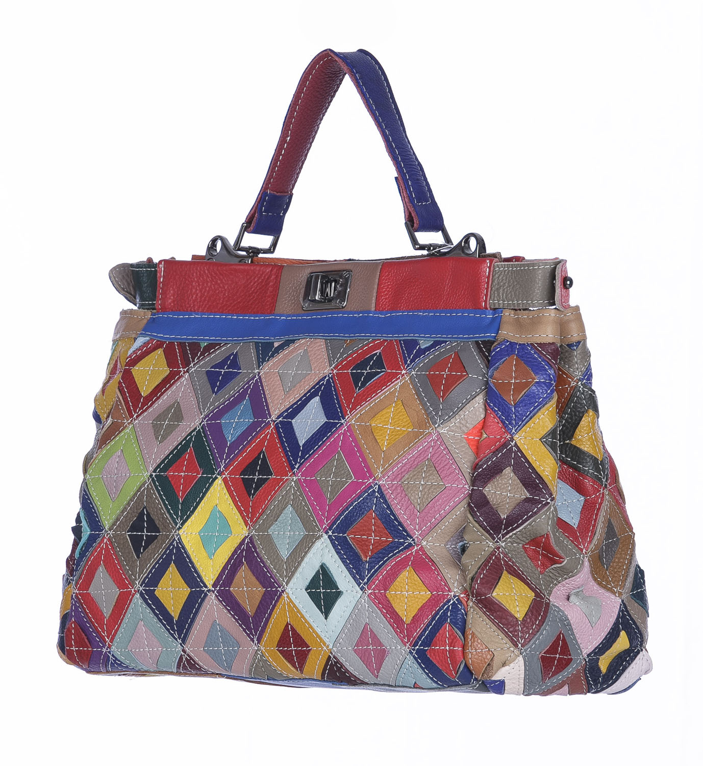 Borsa a mano donna ELIANA, in vera pelle morbida sauvage, MULTICOLORE, ARIANNA DINI, Made in Italy