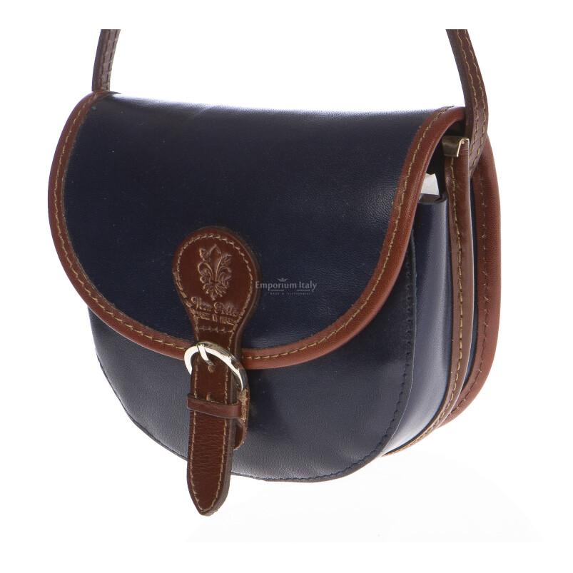 Borsa donna in vera pelle MAESTRI mod. RAMONA colore BLU Made in Italy