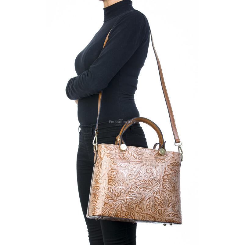 Borsa donna in vera pelle, DELIA REI, mod ADELI colore MIELE, Made in Italy.