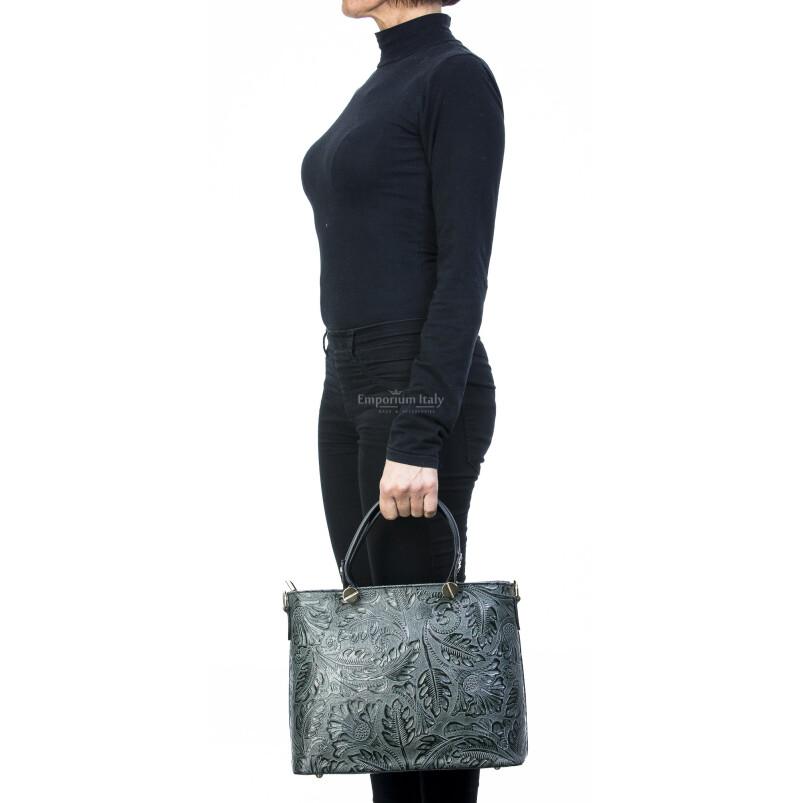 Borsa donna in vera pelle, DELIA REI, mod ADELI colore VERDE, Made in Italy.