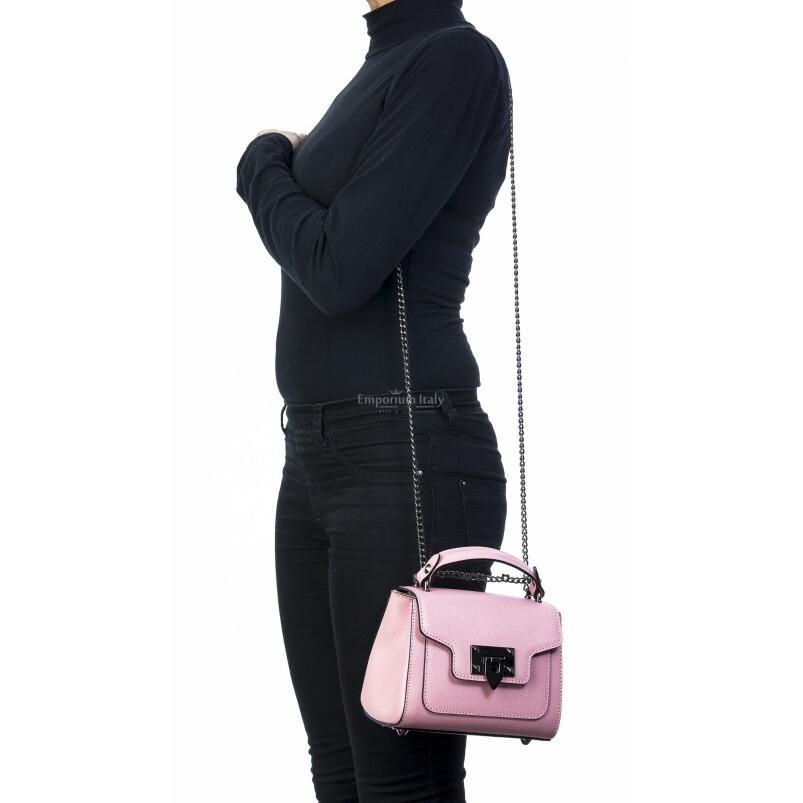 Borsa donna in vera pelle, CHIARO SCURO, mod AGNES colore rosa, Made in Italy.