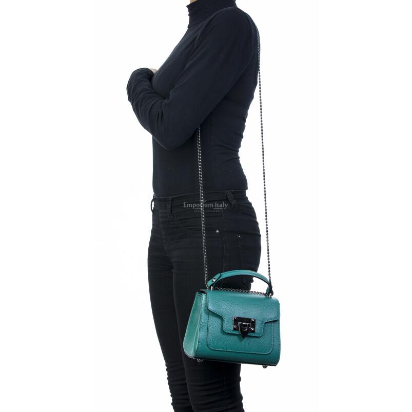 Borsa donna in vera pelle, CHIARO SCURO, mod AGNES colore verde acqua, Made in Italy.