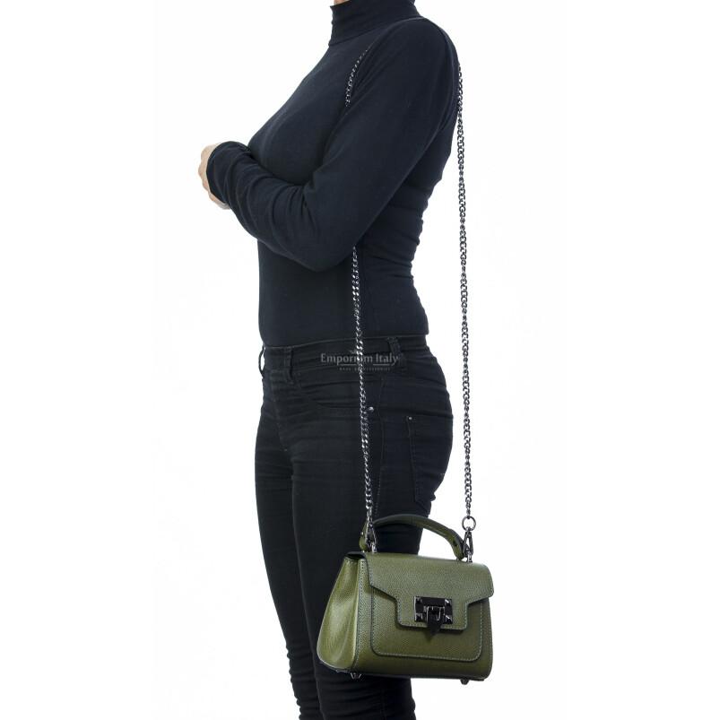 Borsa donna in vera pelle, CHIARO SCURO, mod AGNES colore verde petrolio, Made in Italy.