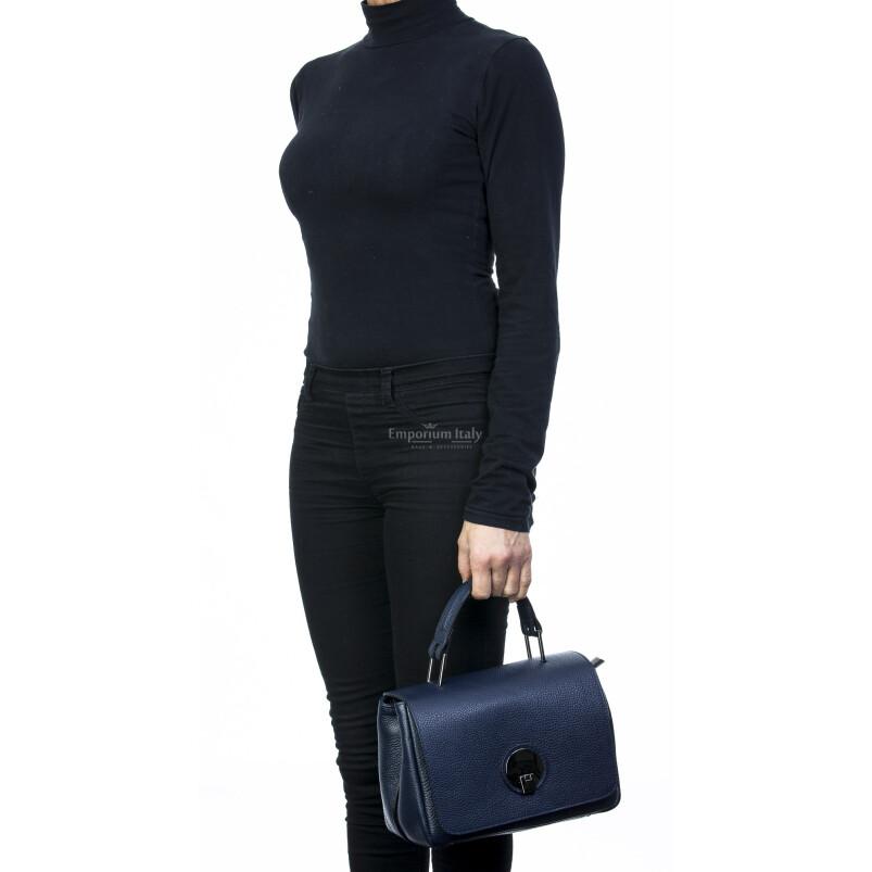 Borsa donna in vera pelle, DELIA REI, mod EVELIN colore blu, Made in Italy.