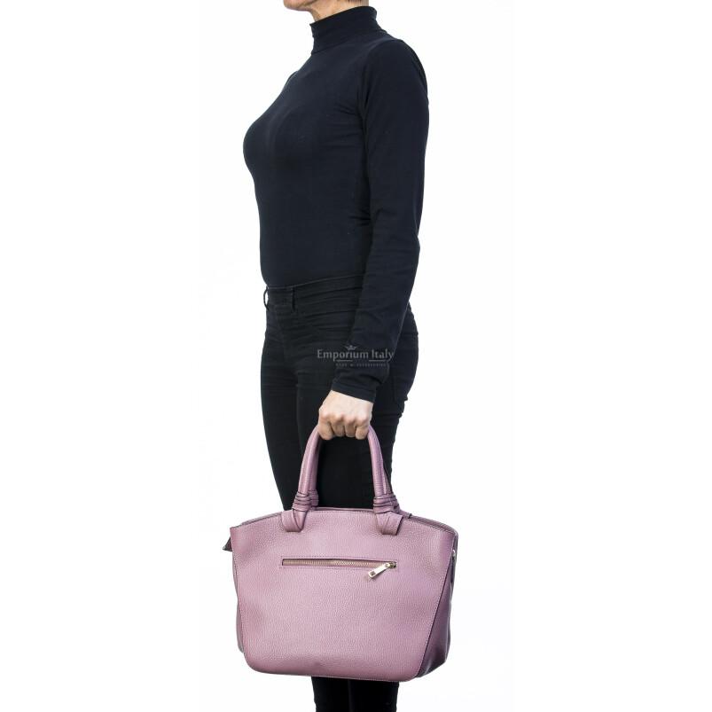 Borsa donna in vera pelle, DELIA REI, mod VICTORIA colore rosa, Made in Italy.