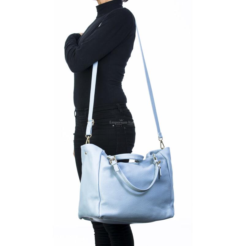Borsa donna in vera pelle, DELIA REI, mod ELODY colore azzurro, Made in Italy.