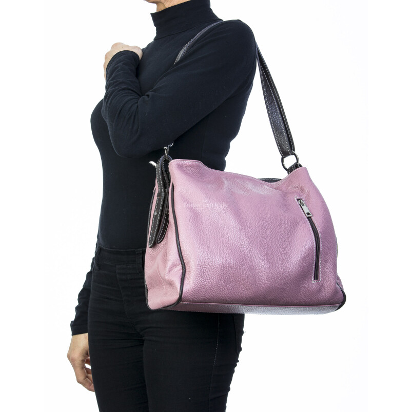 Borsa donna in vera pelle, DELIA REI, mod ANGELINA colore rosa, Made in Italy.