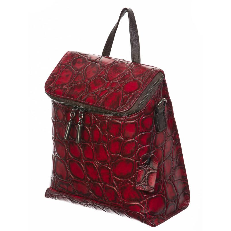 Borsa zaino donna in vera pelle, SANTINI, mod LARISSA colore rosso, Made in Italy.