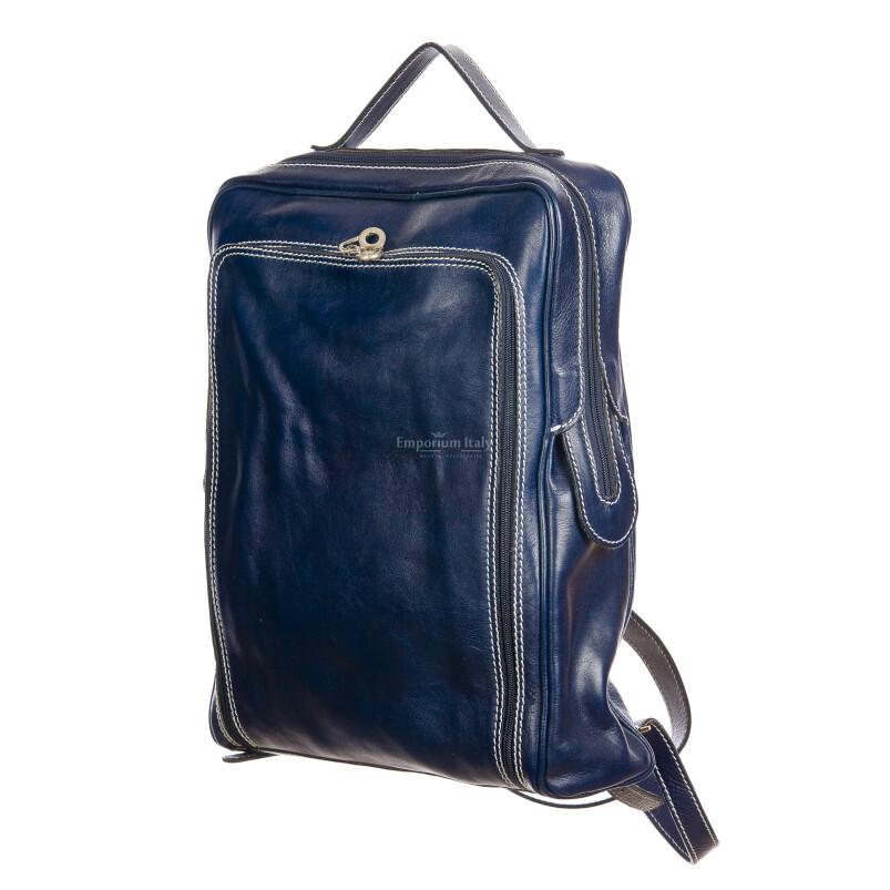 MONTE BIANCO : zaino uomo / donna, vero cuoio, colore BLU, Made in Italy.