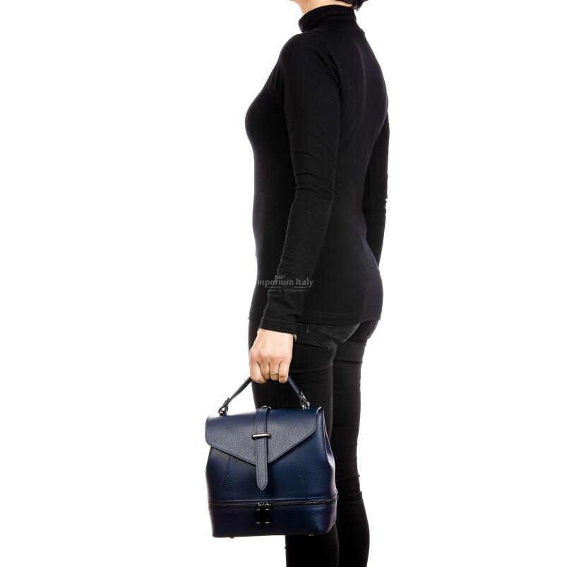 CAMY : borsa - zaino donna, pelle safiano rigida, colore : BLU, Made in Italy.