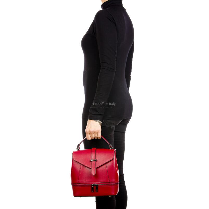 CAMY : borsa - zaino donna, pelle safiano rigida, colore : ROSSO, Made in Italy.