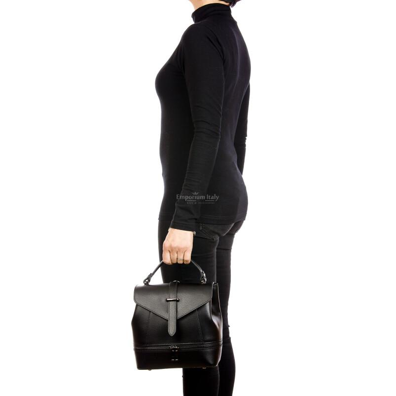 CAMY : borsa - zaino donna, pelle safiano rigida, colore : NERO, Made in Italy.