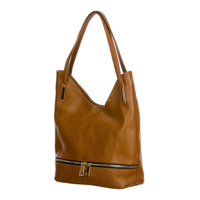 LUISA : borsa donna a spalla, pelle morbida, colore : MARRONE, Made in Italy