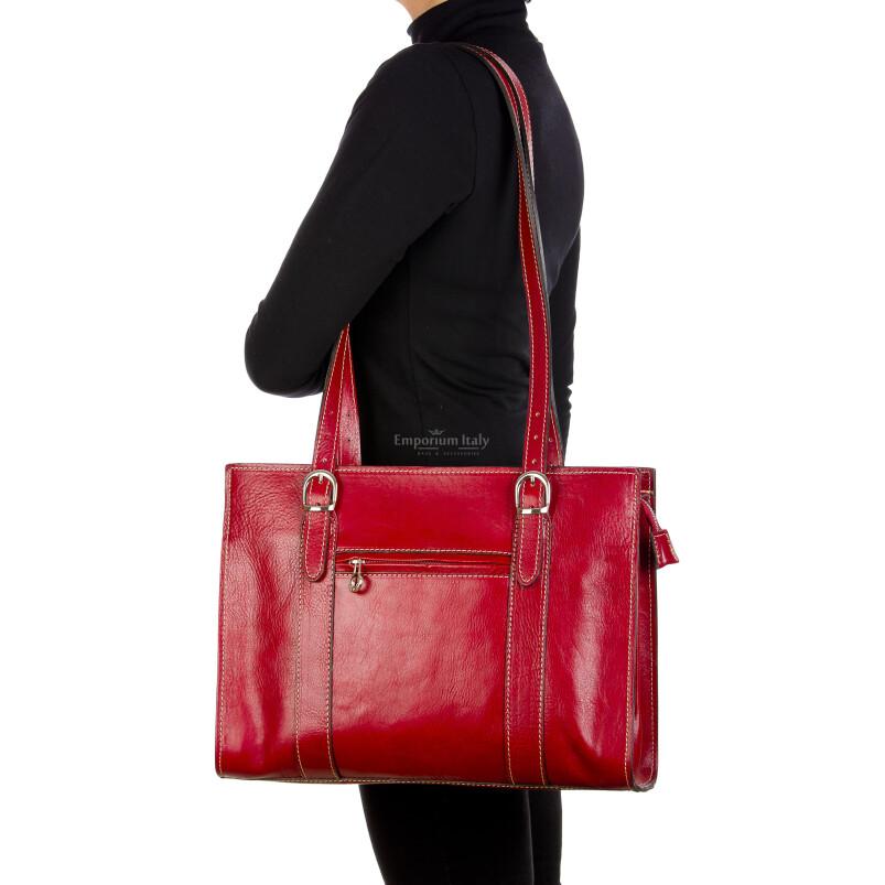 MARINA : borsa donna a spalla in cuoio, colore : ROSSO, Made in Italy