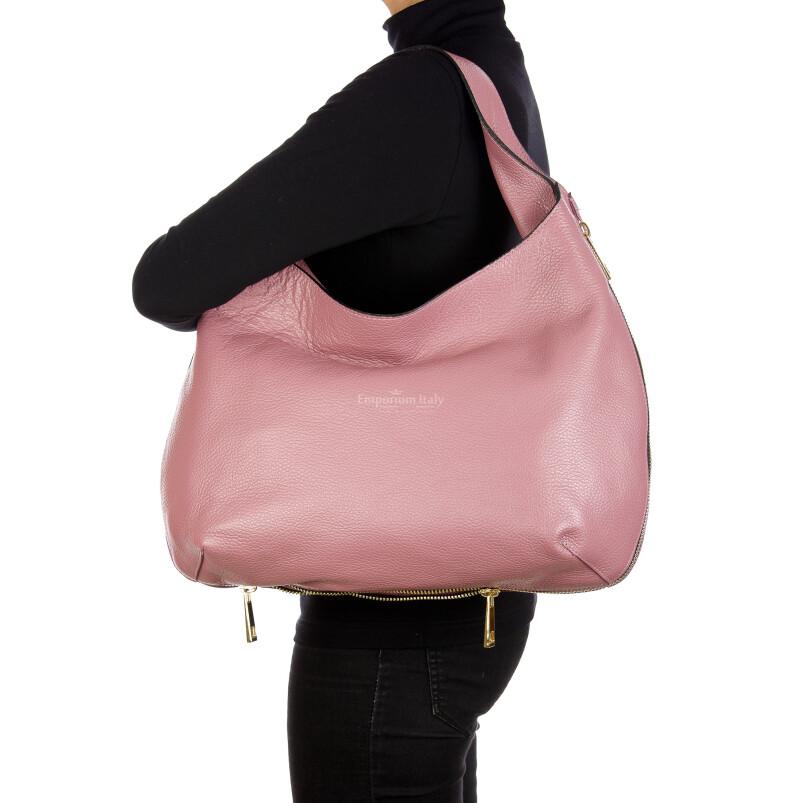 DAISY : borsa donna a spalla, pelle morbida, colore: ROSA, Made in Italy. (Borsa)
