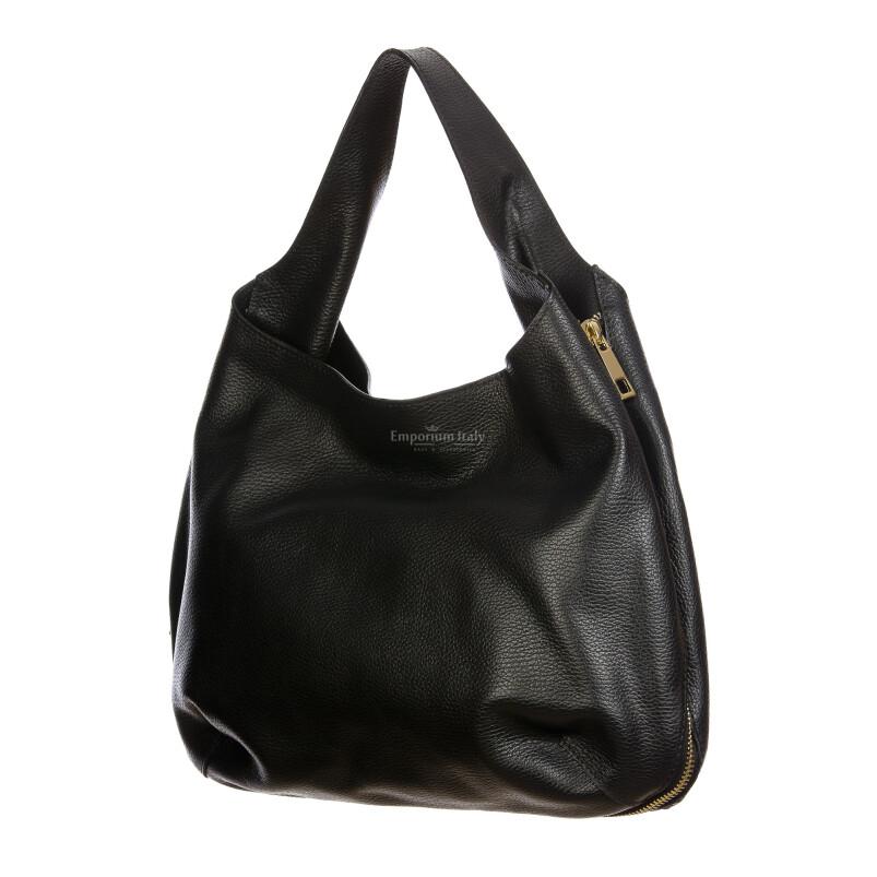 DAISY : borsa donna a spalla, pelle morbida, colore: NERO, Made in Italy. (Borsa)