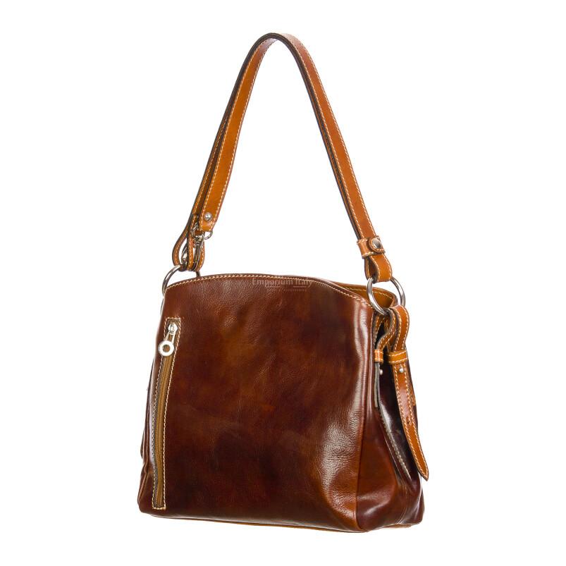 ORNELLA : borsa donna a spalla in cuoio, colore : MARRONE/MIELE, Made in Italy