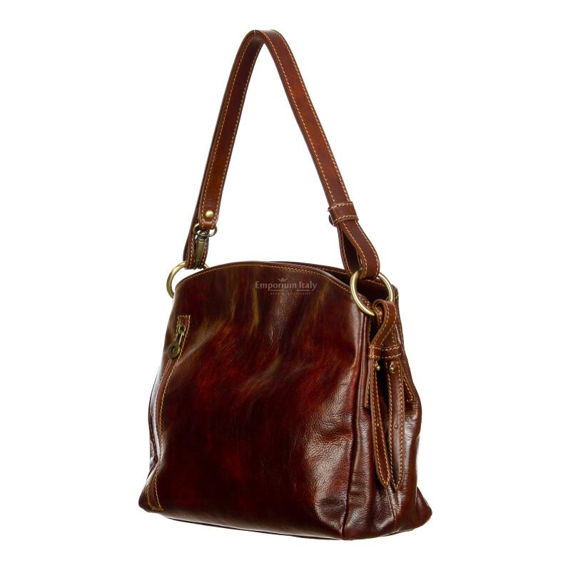 ORNELLA : borsa donna a spalla in cuoio, colore : TESTAMORO, Made in Italy
