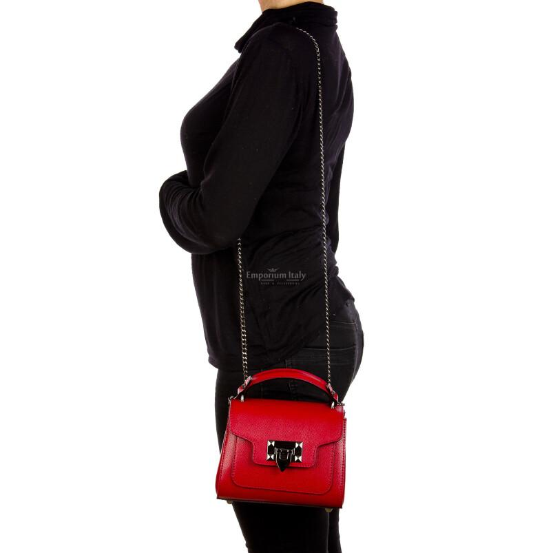 AGNES : borsa donna mini, pelle saffiano, colore : ROSSO, Made in Italy