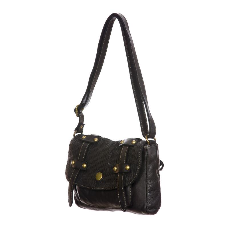 VELIA : borsa donna, pelle invecchiata / vintage, colore : NERO, Made in Italy