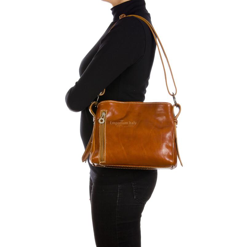ORNELLA MINI: borsa donna a spalla in cuoio, colore : MIELE, Made in Italy