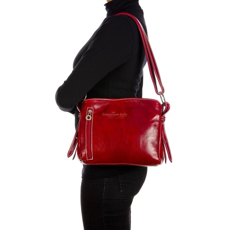 ORNELLA MINI: borsa donna a spalla in cuoio, colore : ROSSO, Made in Italy (Borsa)