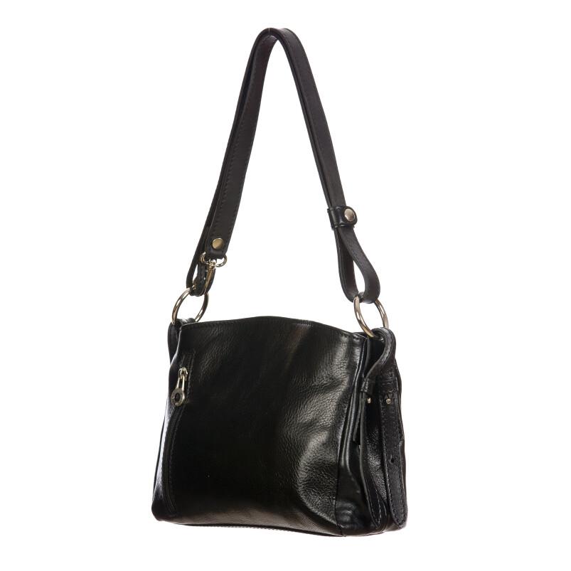 ORNELLA MINI: borsa donna a spalla in cuoio, colore : NERO, Made in Italy (Borsa)