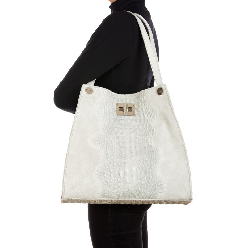 CORINNE: borsa donna a spalla, semirigida, pelle morbida, colore: GRIGIO CHIARO, Made in Italy