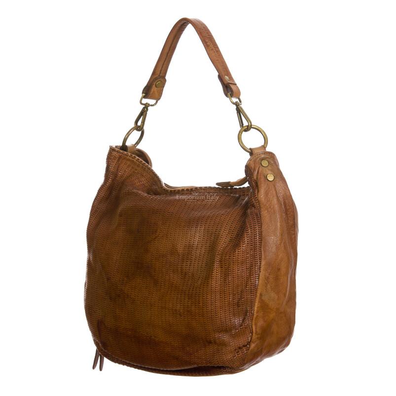 VERONICA : borsa donna a spalla, a tracolla, pelle morbida vintage, colore : MARRONE, Made in Italy