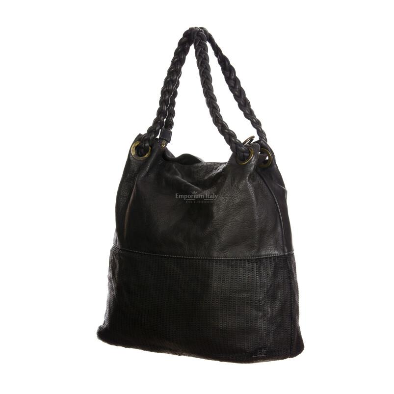 VANESSA : borsa donna a spalla, pelle morbida, vintage, colore : NERO, Made in Italy.