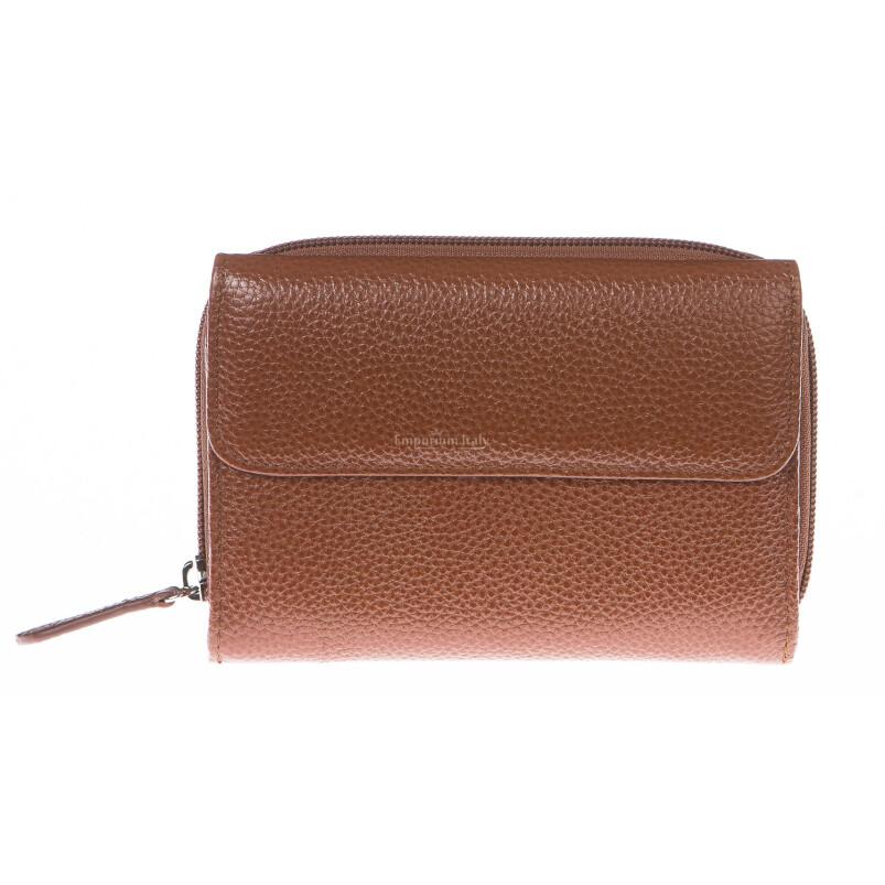 Portafoglio donna in vera pelle tradizionale SANTINI mod CASSIA colore MARRONE Made in Italy.