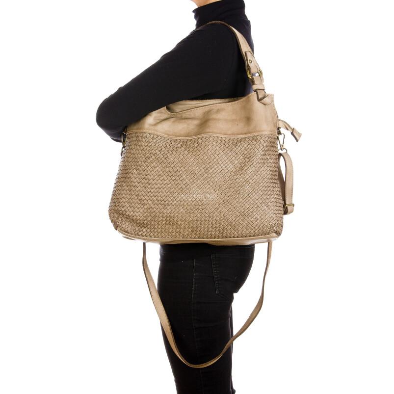 VANDA: borsa donna a spalla , pelle morbida, vitage, colore: TAUPE, Made in Italy