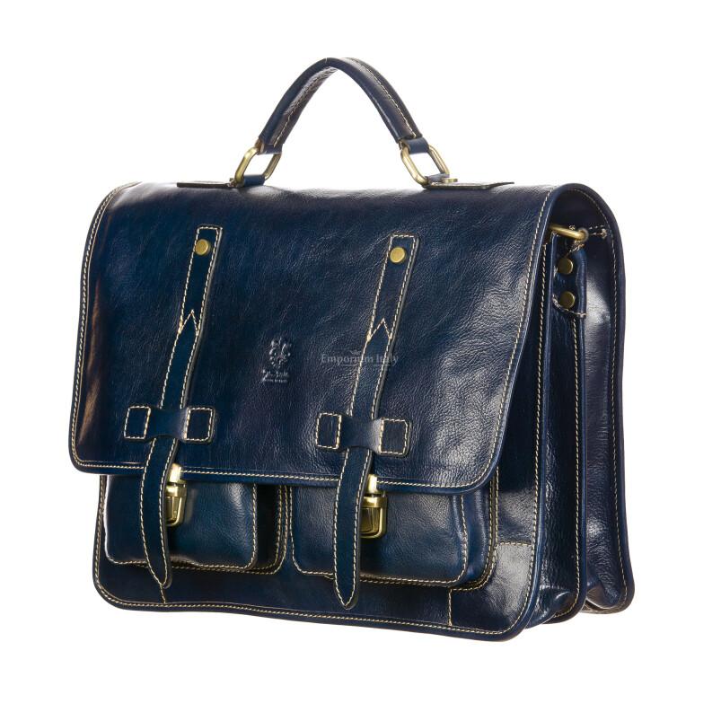 ERNESTO: cartella /borsa ufficio uomo, in cuoio, colore: BLU, Made in Italy