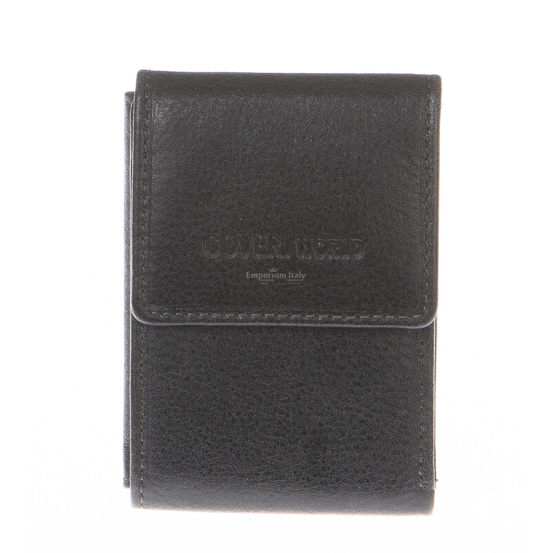 Mens wallet in genuine sauvage leather COVERI, mod ARMENIA, color BLACK, Made in Italy.