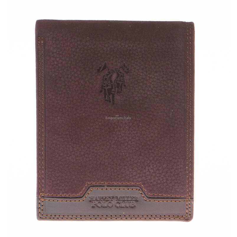 Mens wallet in genuine nubuck leather HARVEY MILLER, mod MONGOLIA, color BROWN, Made in Italy.