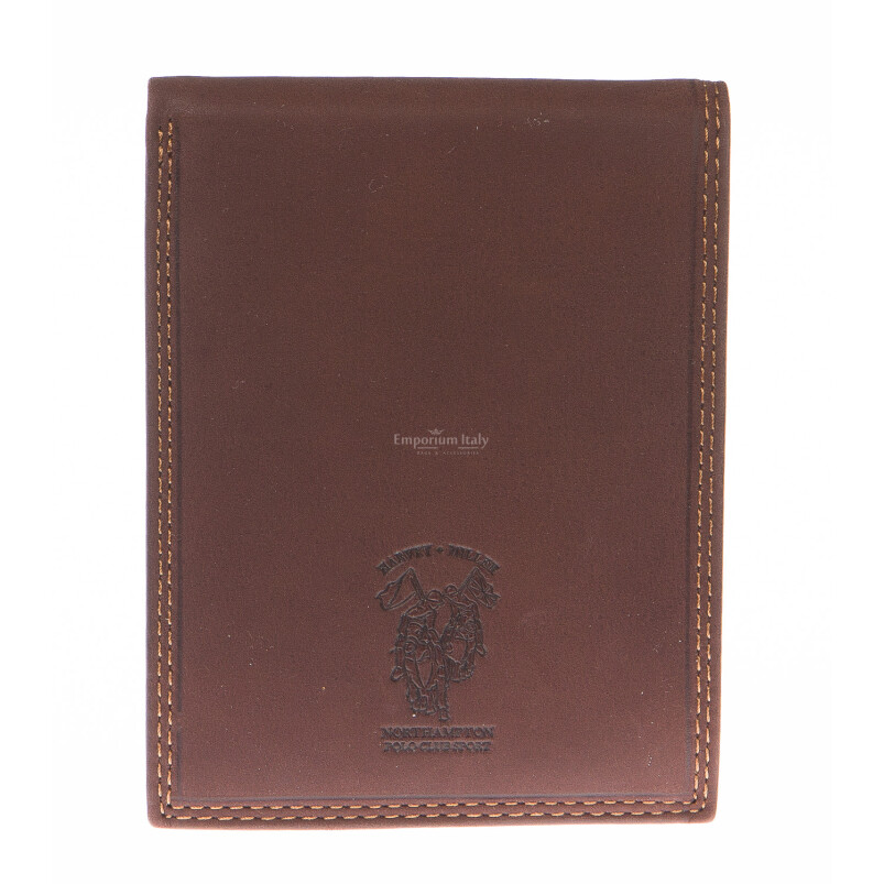 Mens wallet in genuine nubuck leather HARVEY MILLER, mod MADAGASCAR, color BROWN, Made in Italy.