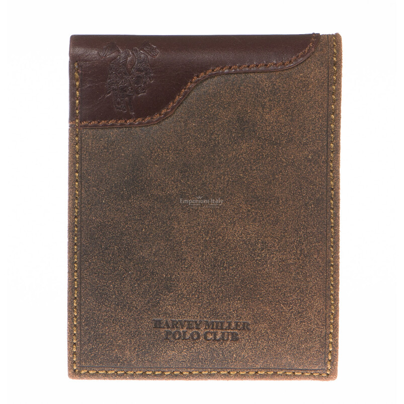 Mens wallet in genuine nubuck leather HARVEY MILLER, mod GAMAICA, color DARK BROWN, Made in Italy.