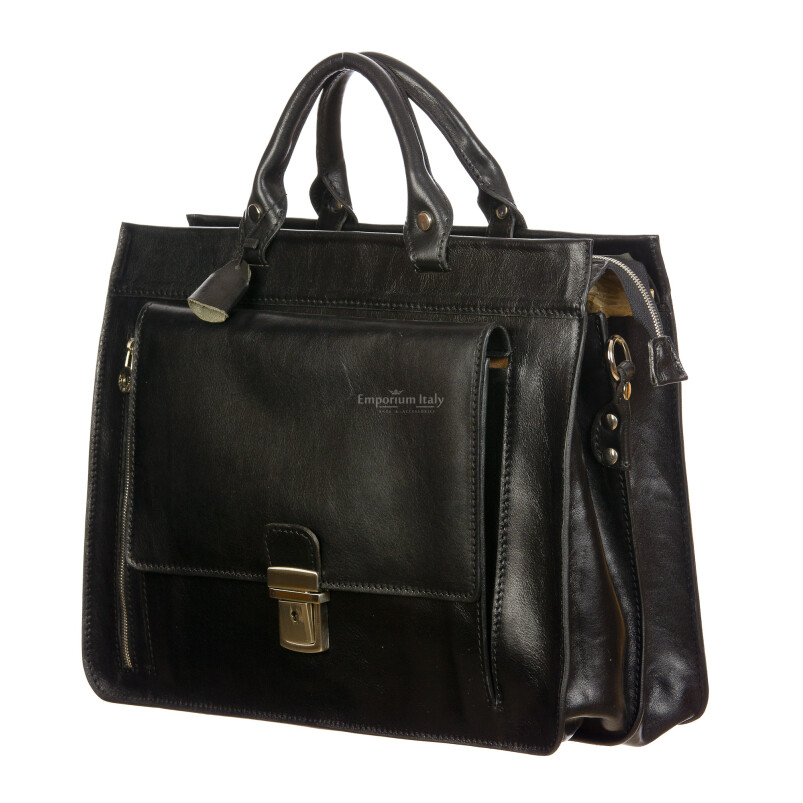 EMIDIO : cartella ufficio / borsa lavoro, uomo / donna, in cuoio, colore : NERO, Made in Italy (Borsa)