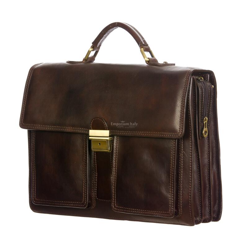 EVASIO : cartella ufficio / borsa lavoro uomo, in cuoio, colore : TESTAMORO, Made in Italy (Borsa)