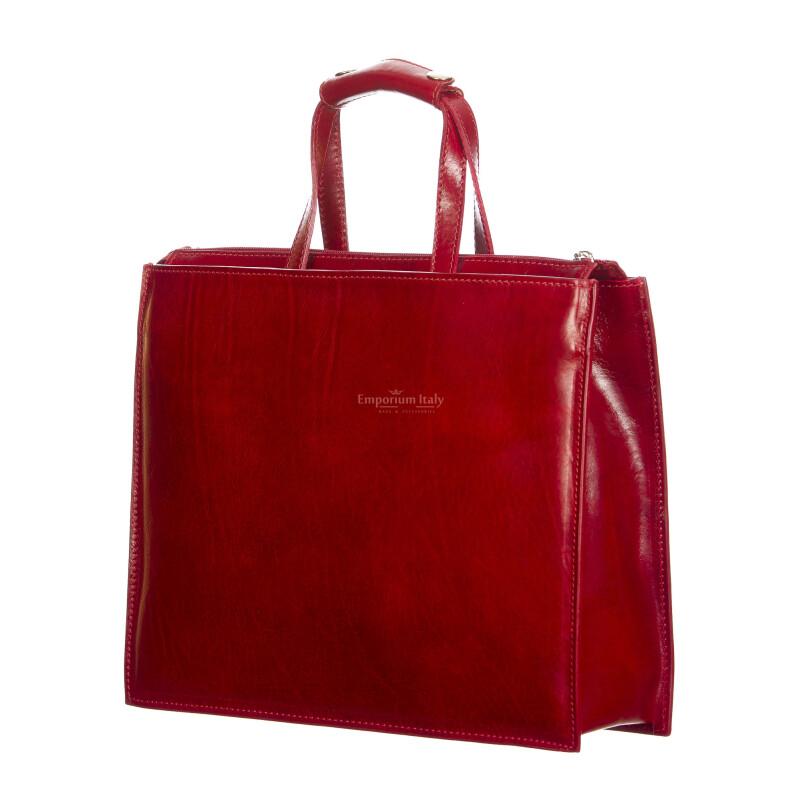 ERMETE : cartella ufficio / borsa lavoro, uomo - donna, in cuoio, colore : ROSSO, Made in Italy (Borsa)