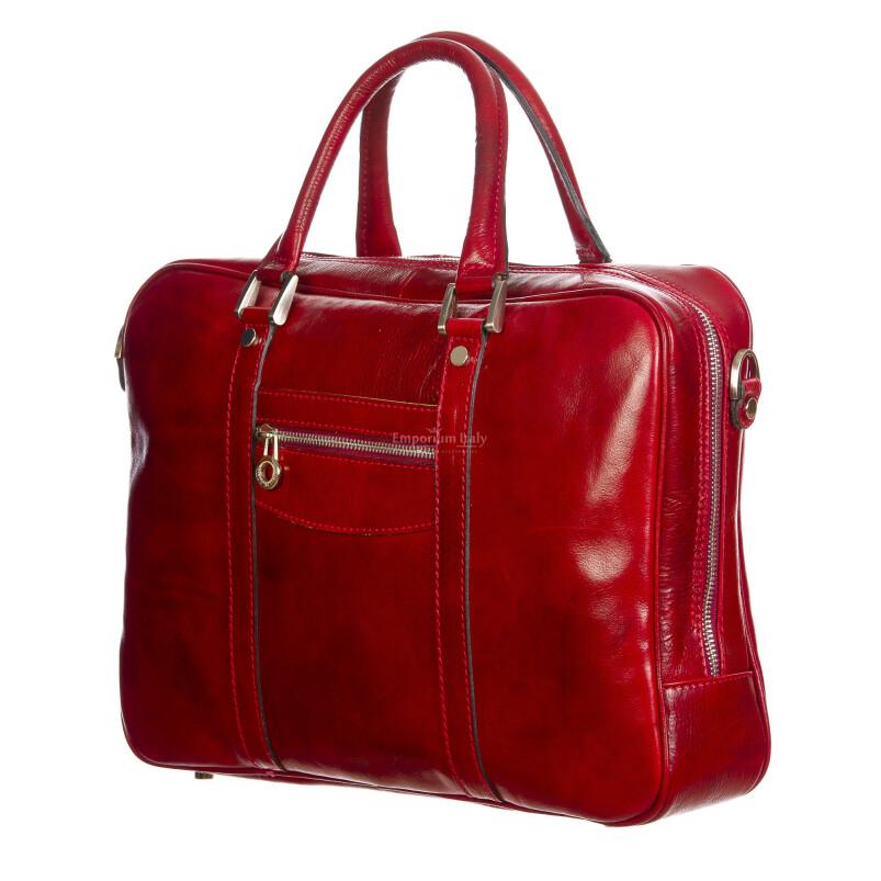 MURES : cartella ufficio / borsa lavoro, uomo - donna, in cuoio, colore: ROSSO, Made in Italy. (Borsa)
