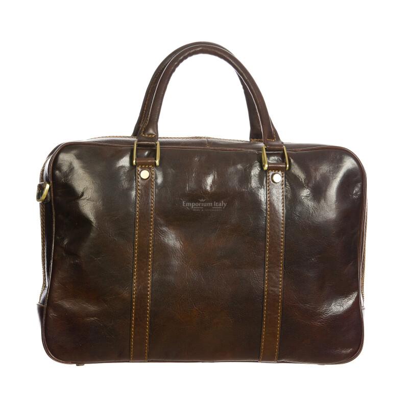 MURES : cartella ufficio / borsa lavoro, uomo - donna, in cuoio, colore: TESTAMORO, Made in Italy. (Borsa)